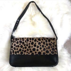DANIER Leather/Cow Hair Shoulder Bag leopard